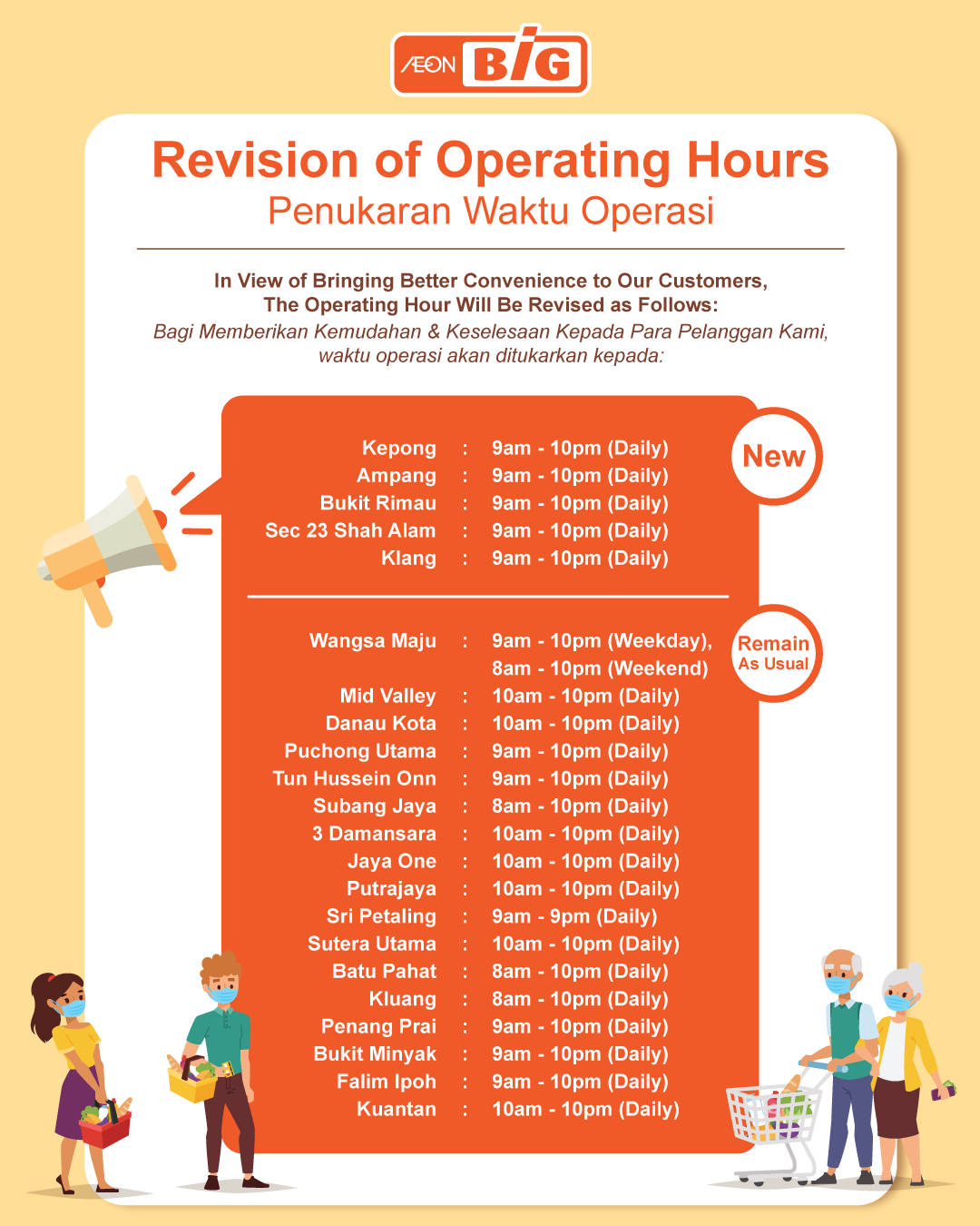 Revision of Operating Hours