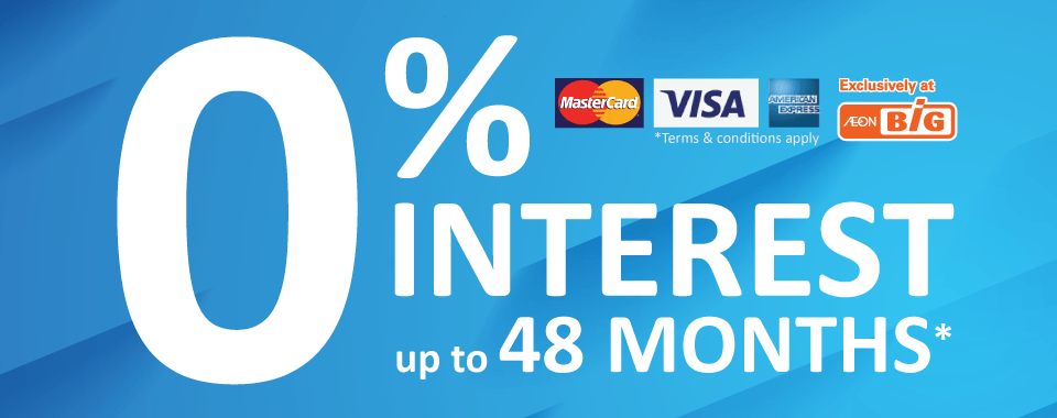 AEON BiG 0% Interest Free up to 48 Months visa master american express header banner
