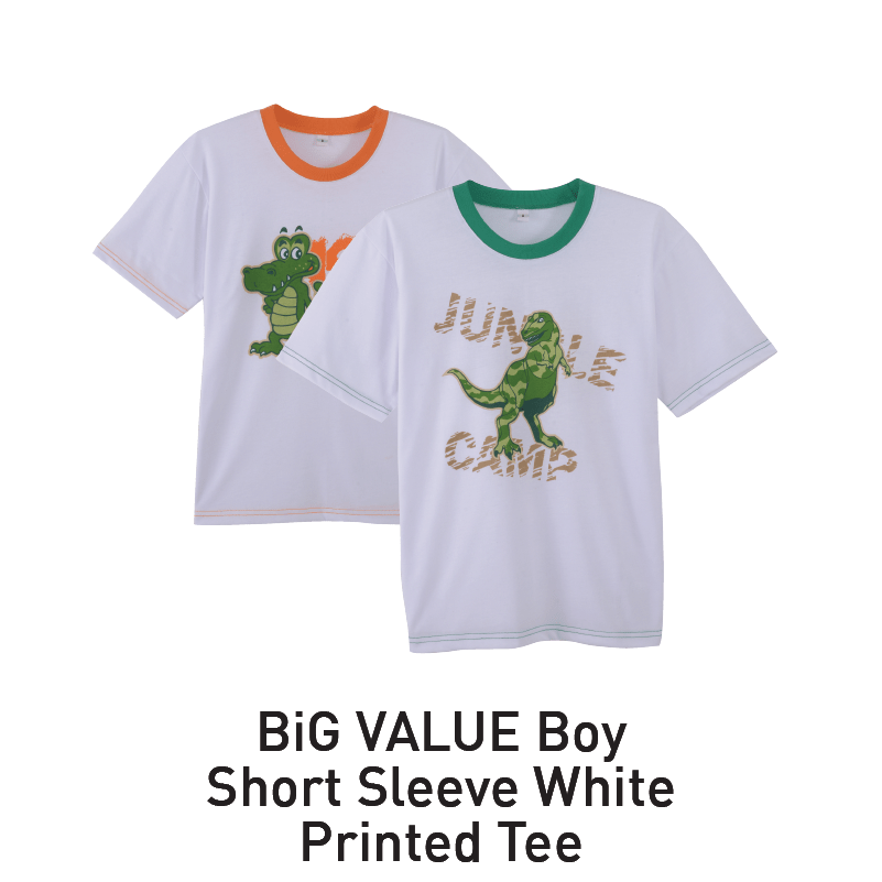 big value boy short sleeve white printed tee aeon big