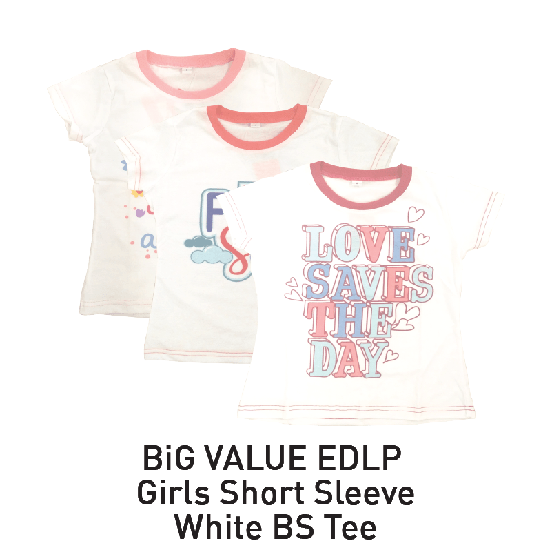 big value girls short sleeve white tee aeon big