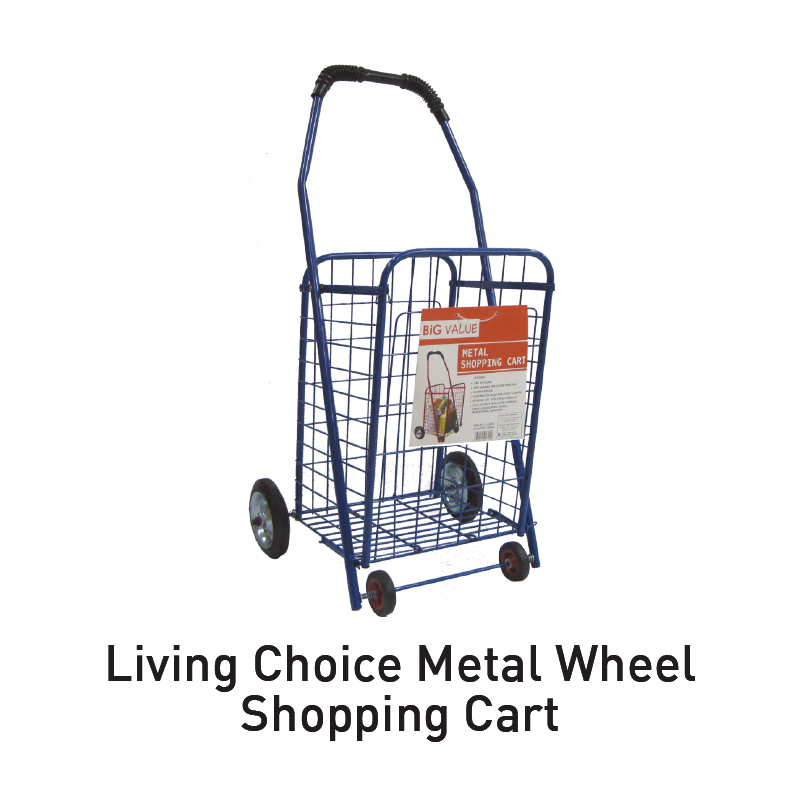 living choice metal wheel shopping cart aeon big